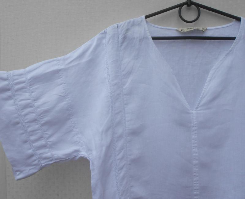 Белая летняя льняная блузка оверсайз zara - Фото 2
