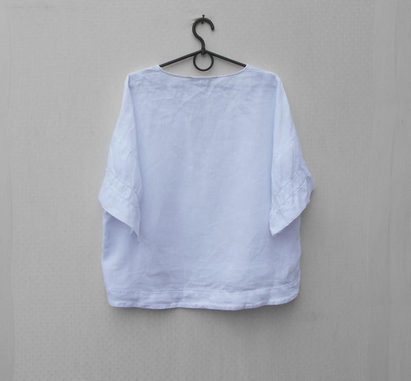 Белая летняя льняная блузка оверсайз zara - Фото 4
