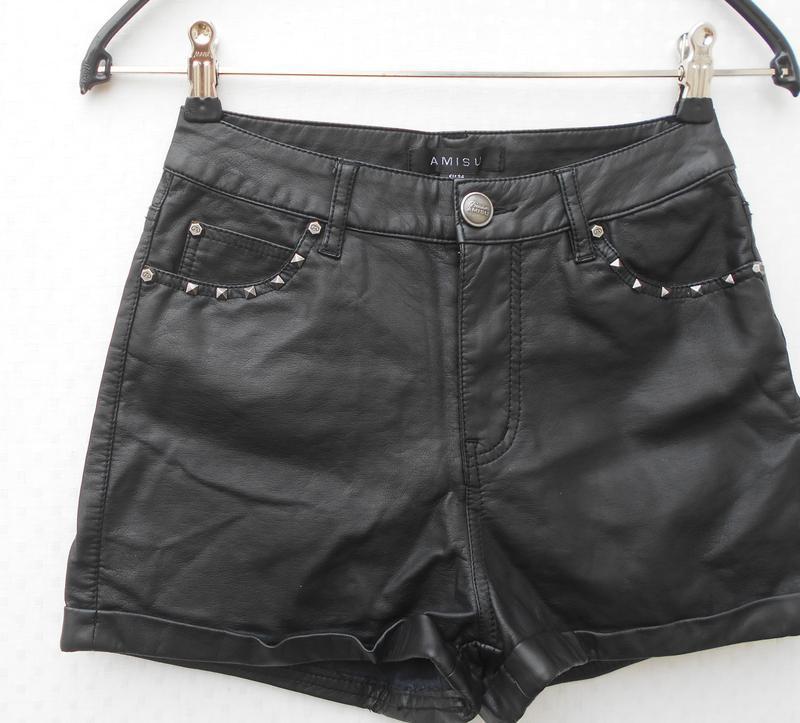 Черные высокие кожаные шорты 🌿 - Фото 2