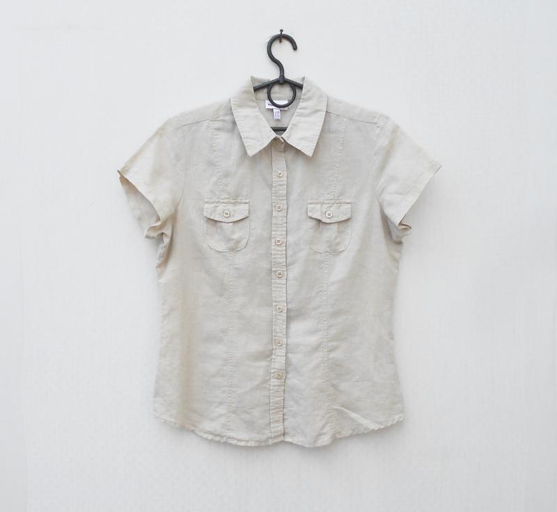 Льняная летняя легкая рубашка с коротким рукавом