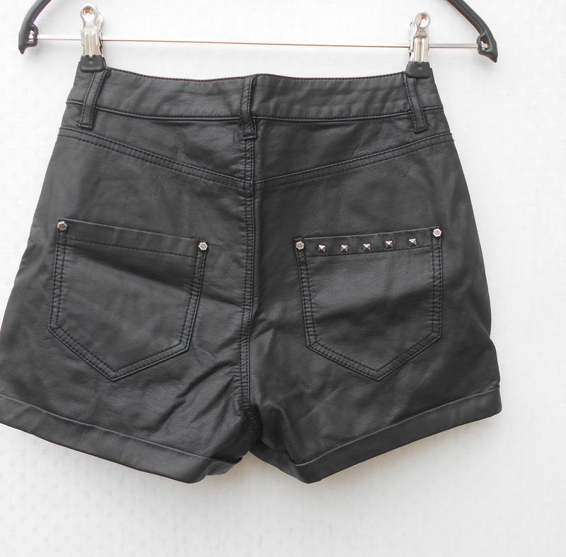 Черные высокие кожаные шорты 🌿 - Фото 3