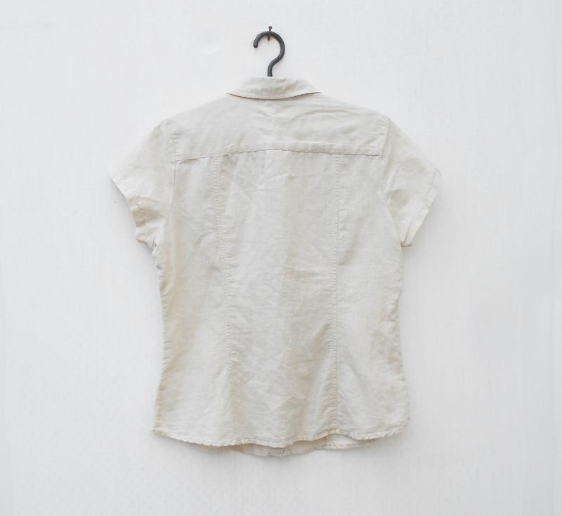 Льняная летняя легкая рубашка с коротким рукавом - Фото 3