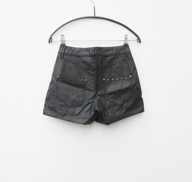 Черные высокие кожаные шорты 🌿 - Фото 4