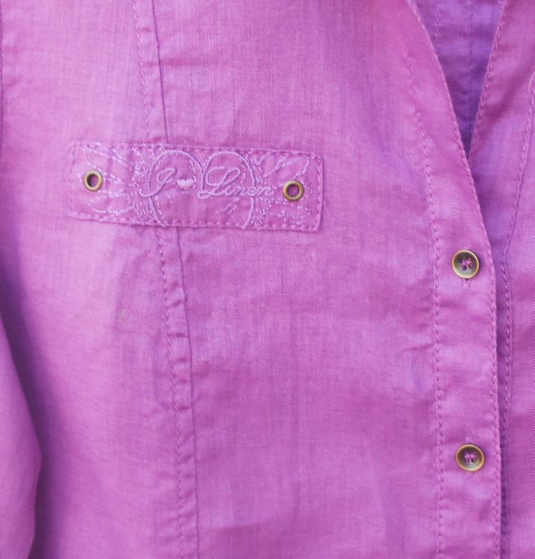 Льняная летняя рубашка с воротником с длинным рукавом - Фото 3