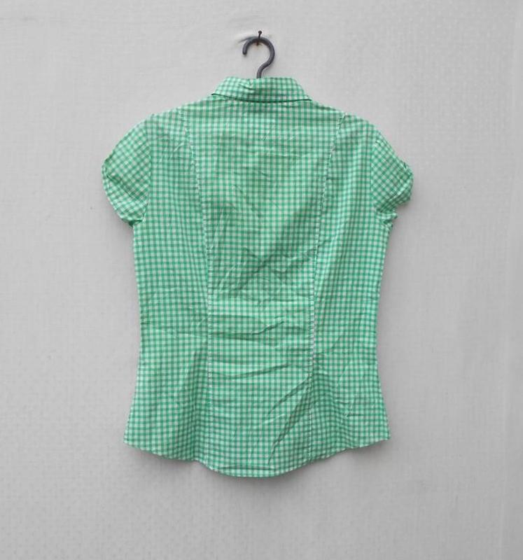 Хлопковая рубашка с воротником в клетку с коротким рукавом 🌿 - Фото 4