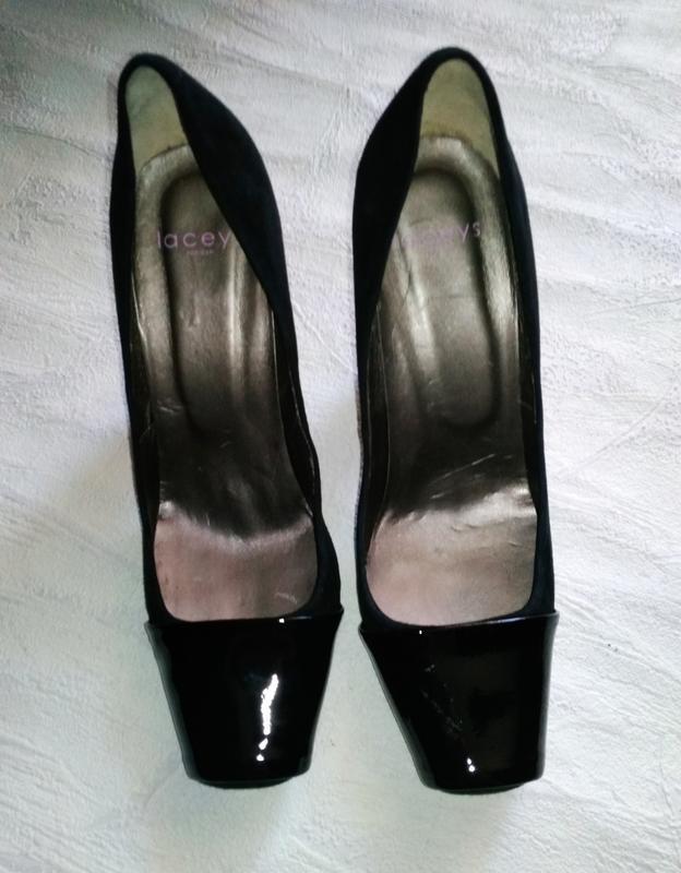 Laceys london шикарные модельные  туфли замшевые с лаковым нос... - Фото 7