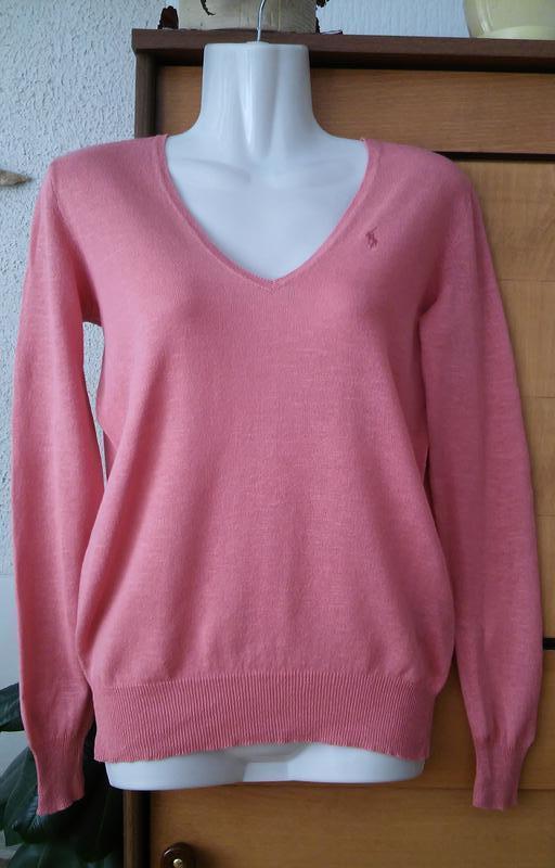 Легкий свитер актуального лососевого цвета, хлопок+лен