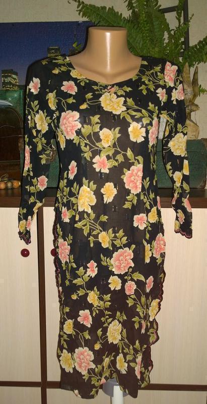 Туника блуза кофточка с цветочным принтом
