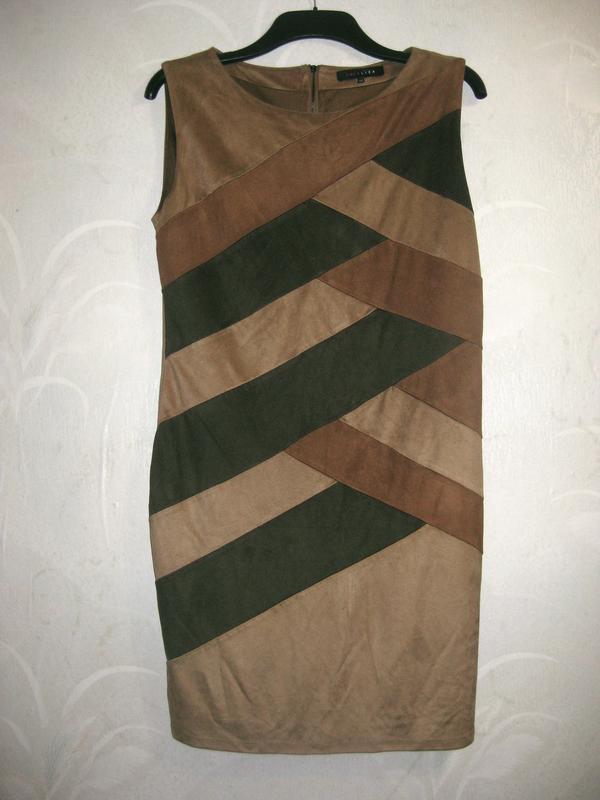 Платье lola&liza миди орнамент замш бежевое коричневое разноцв...
