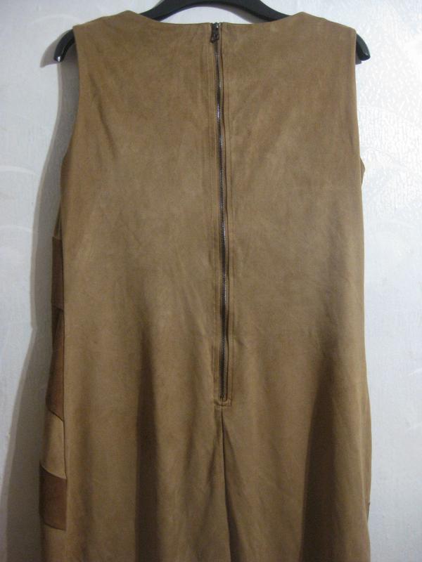Платье lola&liza миди орнамент замш бежевое коричневое разноцв... - Фото 3