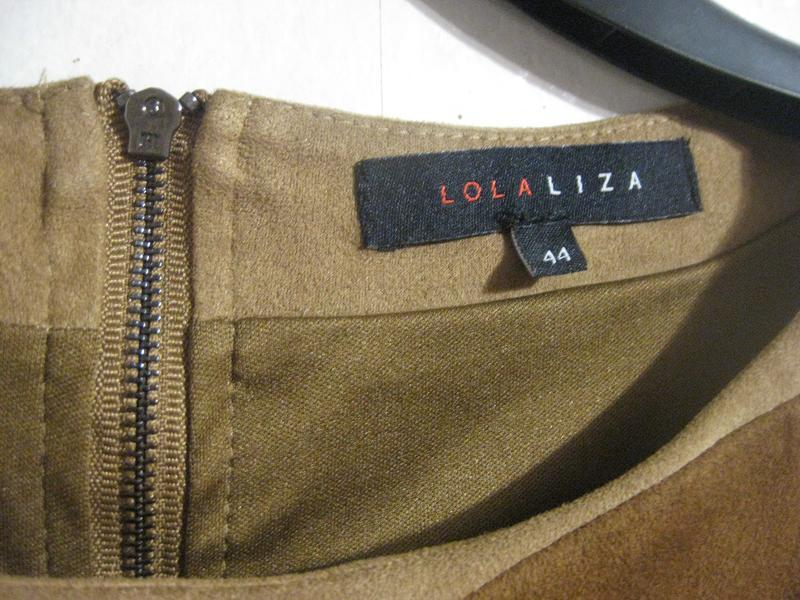 Платье lola&liza миди орнамент замш бежевое коричневое разноцв... - Фото 4