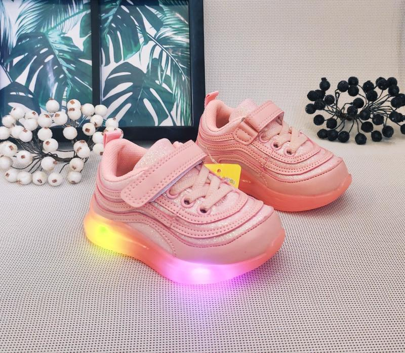 Лед кроссовочки с розовой подошвой