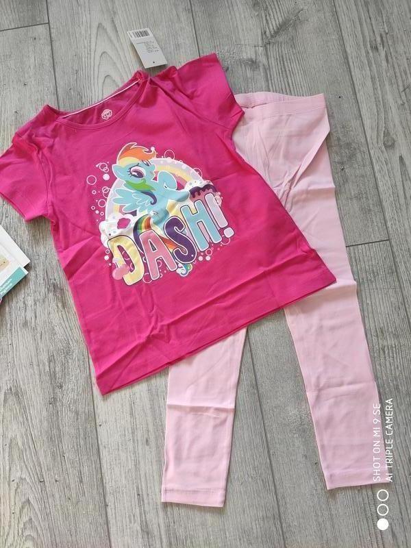 Пижама комплект костюм лосины леггинсы футболка пони 110/116