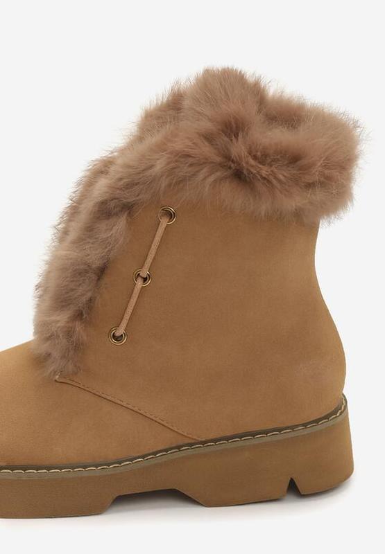 Новые шикарные женские зимние коричневые ботинки - Фото 4