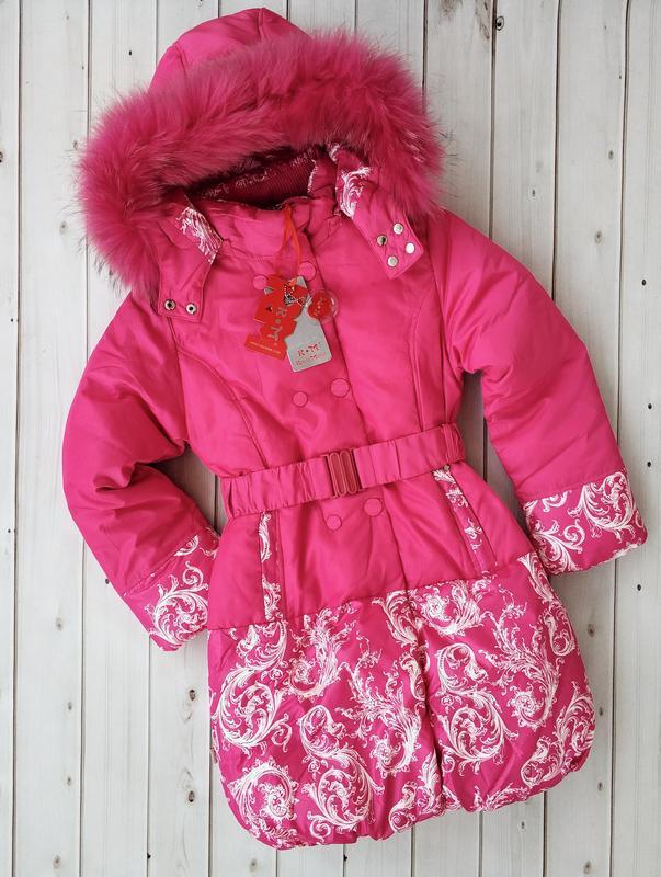 Красивая теплая зимняя куртка , пальто для девочки , бренд rm ...