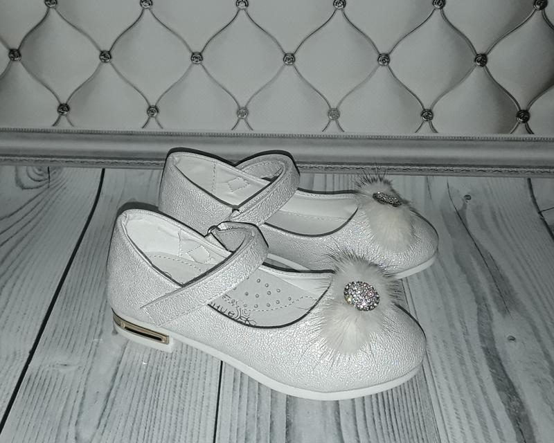 Нарядные туфли девочке, белые туфли девочке с пушком