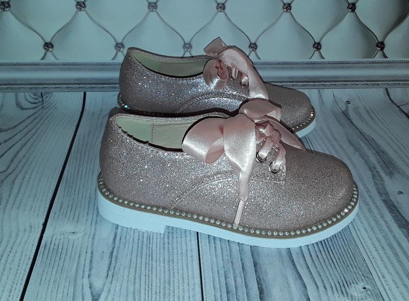 Розовые туфли девочке, туфли-оксфорды, туфли на шнурках