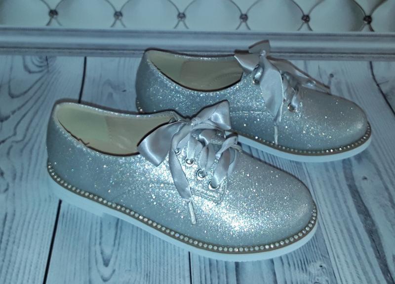 Туфли-оксфорды, туфли на шнурках, туфли девочке серебро