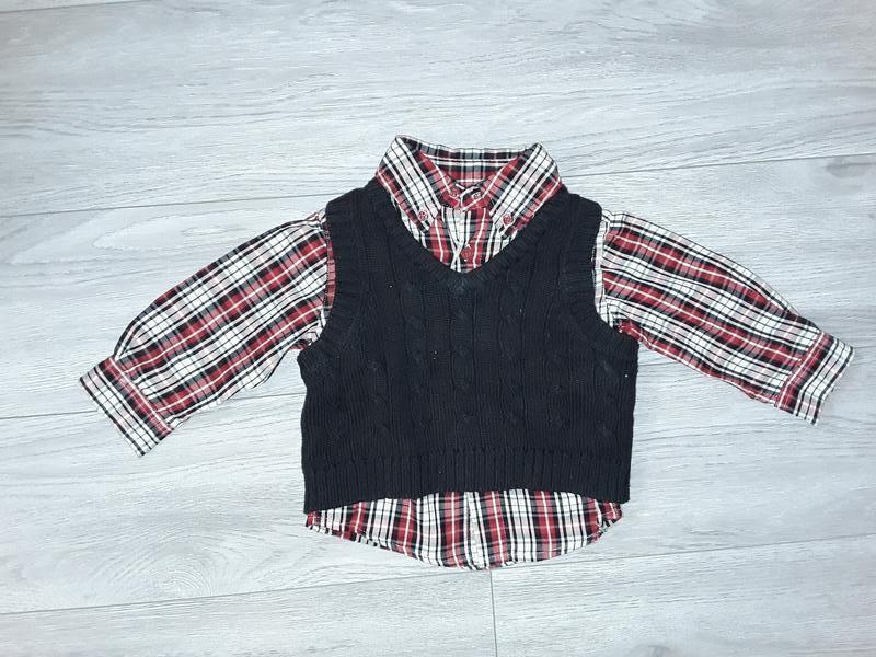 Рубашка с жилеткой на годик
