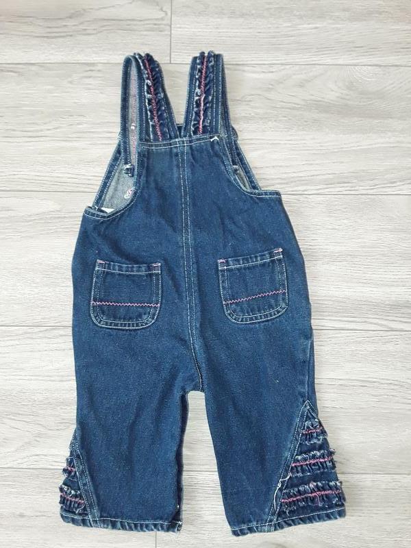 Детский комбинезон на 3-6 месяцев, джинсовый комбез на девочку - Фото 2