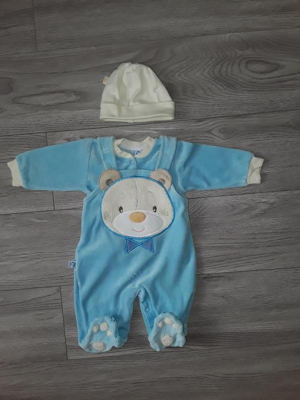 Велюровый костюм, комбинезон, для новорождённых, шапочка