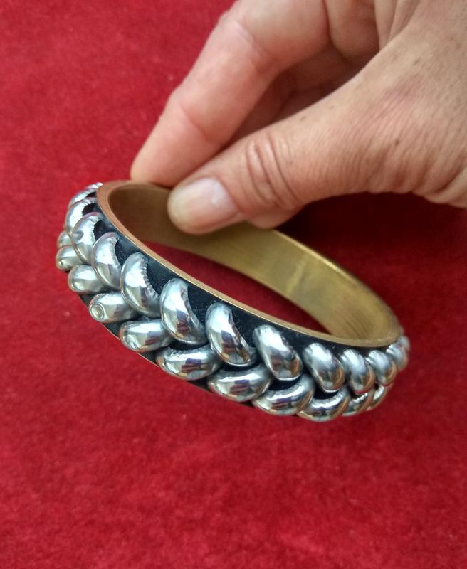 Винтажный латунный браслет с эмалью