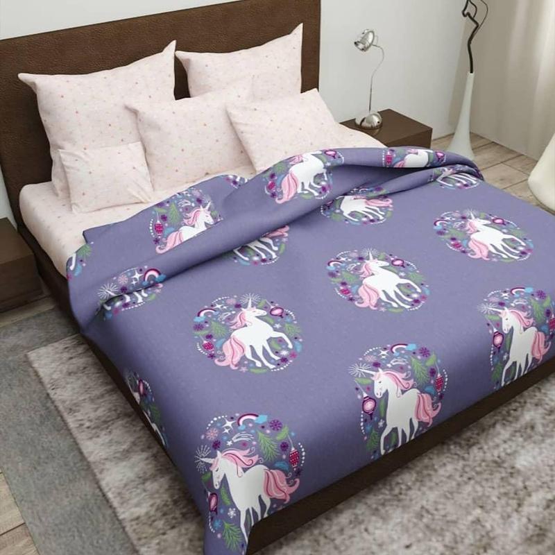 Комплект постельного белья полуторный с единорогом