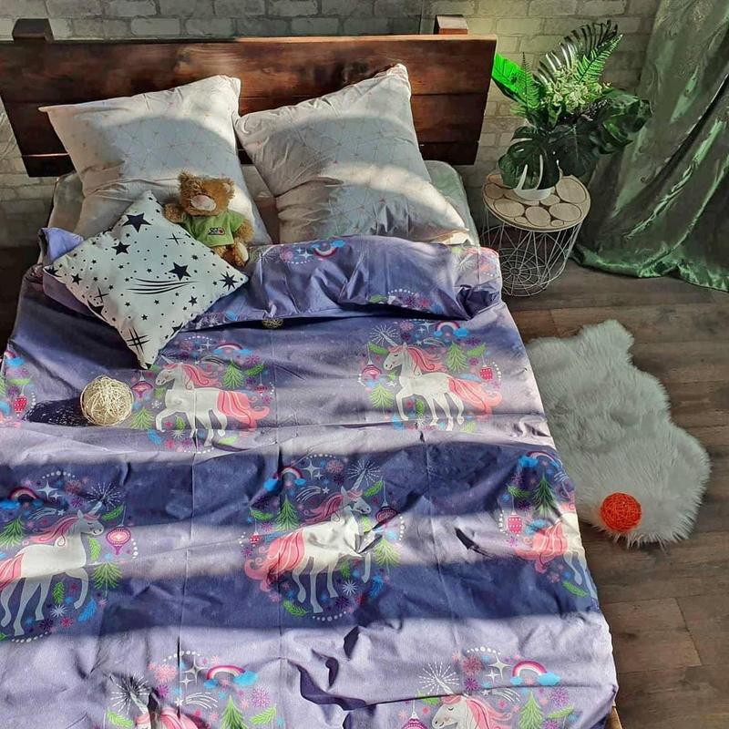Комплект постельного белья полуторный с единорогом - Фото 2