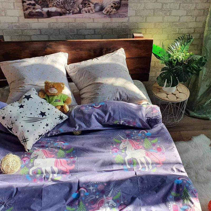 Комплект постельного белья полуторный с единорогом - Фото 3