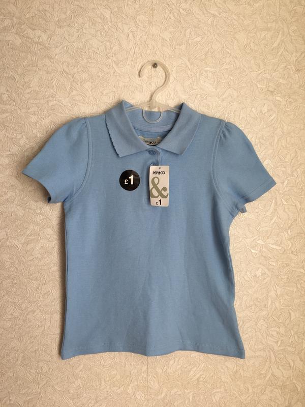 Голубая школьная  футболка поло на девочку 6-8 лет