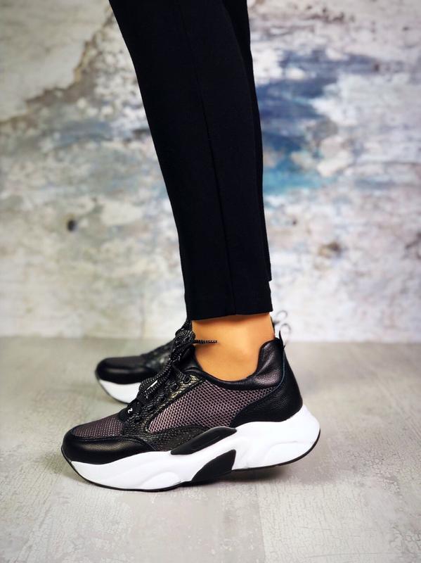 Натуральная кожа люксовые кроссовки на массивной подошве