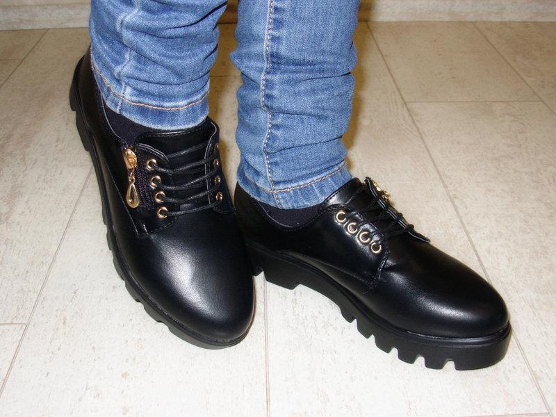 Туфли женские черные на шнурках тракторная подошва стелька кожа - Фото 2
