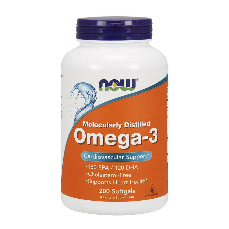 Жирные кислоты Омега 3 Now Foods рыбий жир  200 капсул