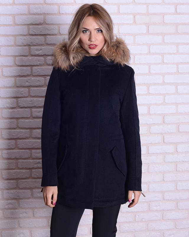 Парка-пальто с мехом енота 46-54р черная, синяя, жемчужная