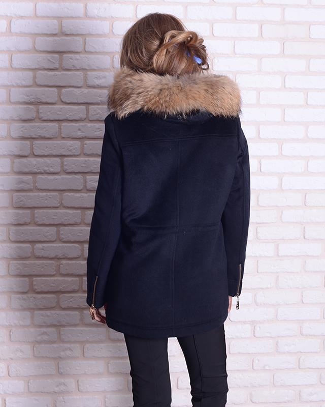 Парка-пальто с мехом енота 46-54р черная, синяя, жемчужная - Фото 2