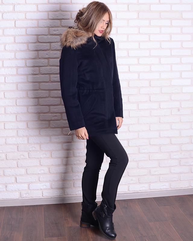 Парка-пальто с мехом енота 46-54р черная, синяя, жемчужная - Фото 3