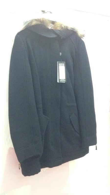 Парка-пальто с мехом енота 46-54р черная, синяя, жемчужная - Фото 4