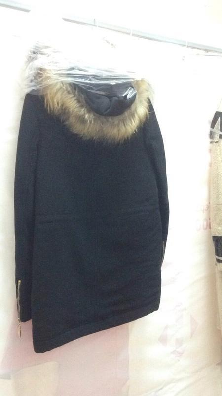 Парка-пальто с мехом енота 46-54р черная, синяя, жемчужная - Фото 5