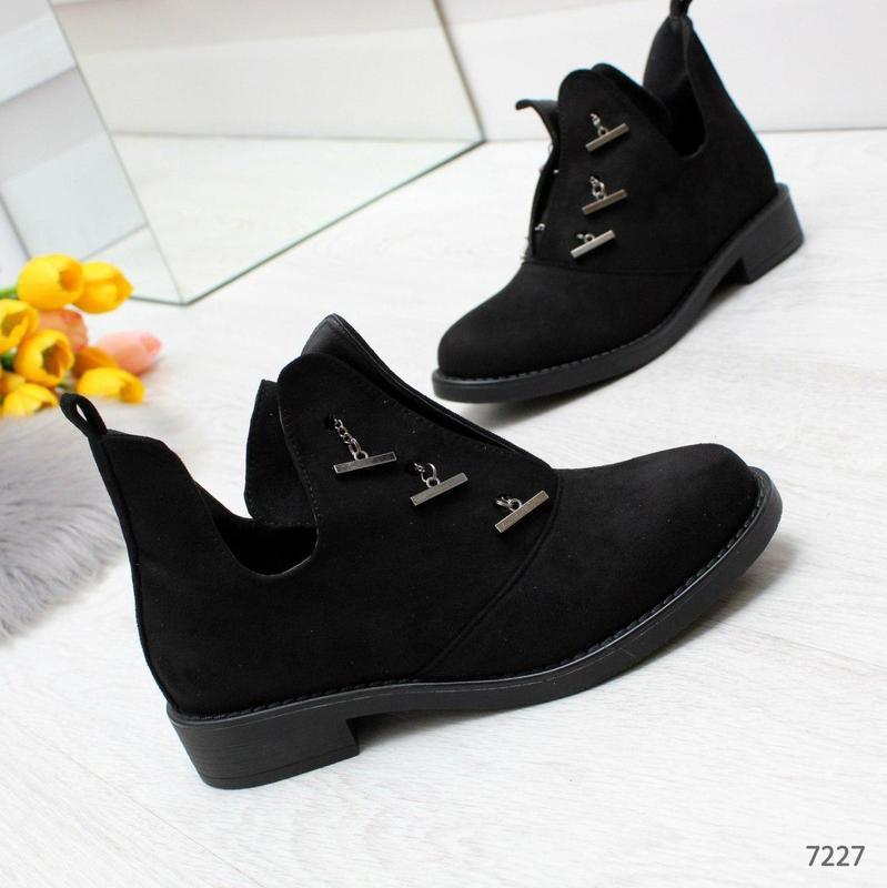 Шикарные дизайнерские замшевые женские туфли осень 2020  код 7227 - Фото 2