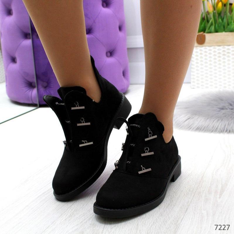 Шикарные дизайнерские замшевые женские туфли осень 2020  код 7227 - Фото 4
