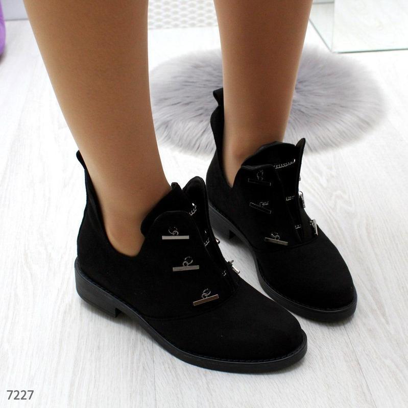 Шикарные дизайнерские замшевые женские туфли осень 2020  код 7227 - Фото 5