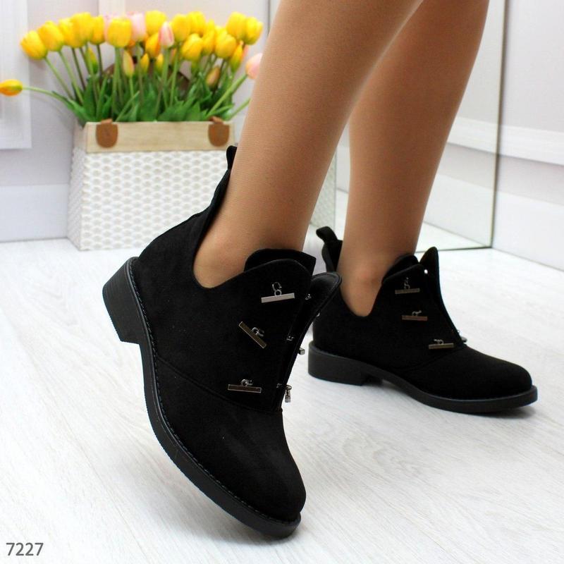 Шикарные дизайнерские замшевые женские туфли осень 2020  код 7227 - Фото 6