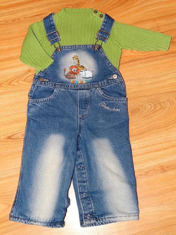 Джинсовый комбинезон на флисе (комбез, комбінезон Gloria Jeans)