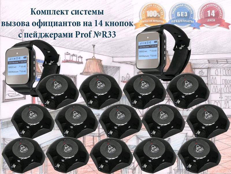 Готовый набор кнопок вызова 14шт: пейджер официанта P-02 и кнопки