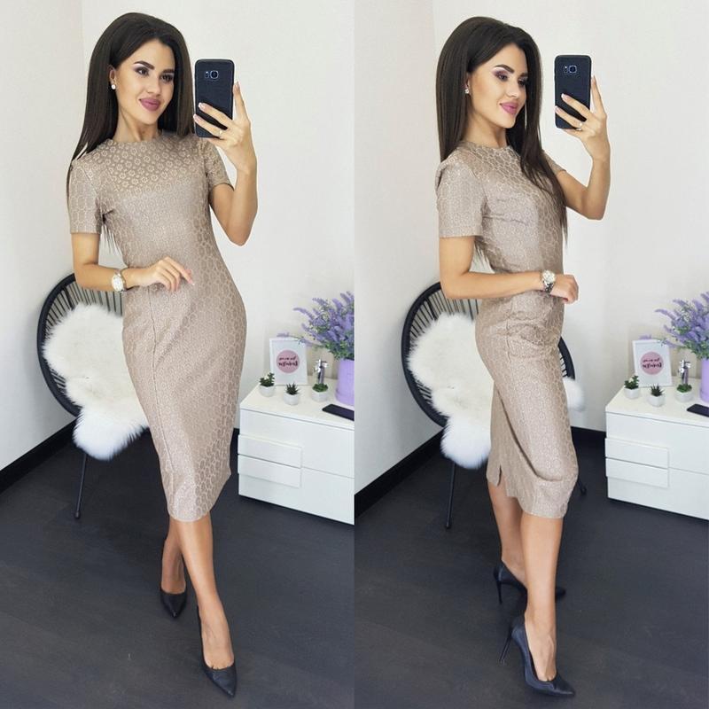 Женское стрейчевое платье футляр - Фото 2