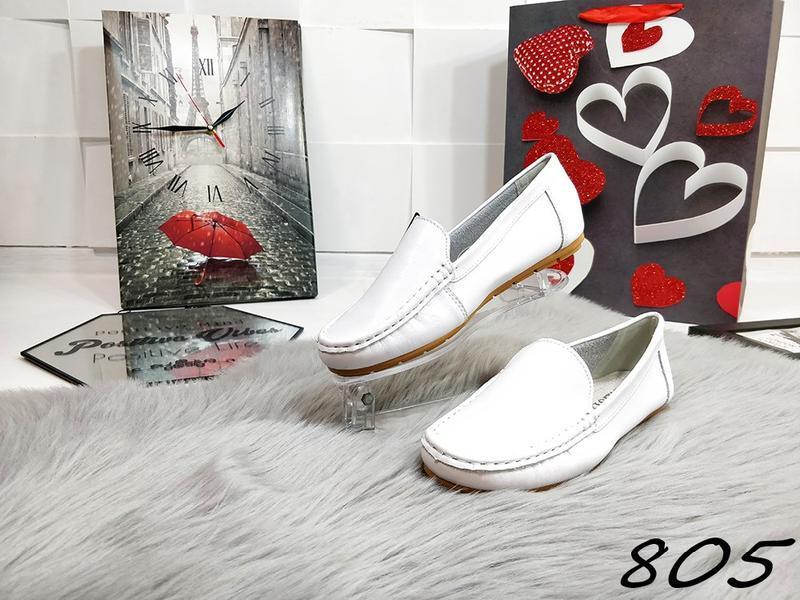 Красивенные белые туфельки кожа - Фото 2