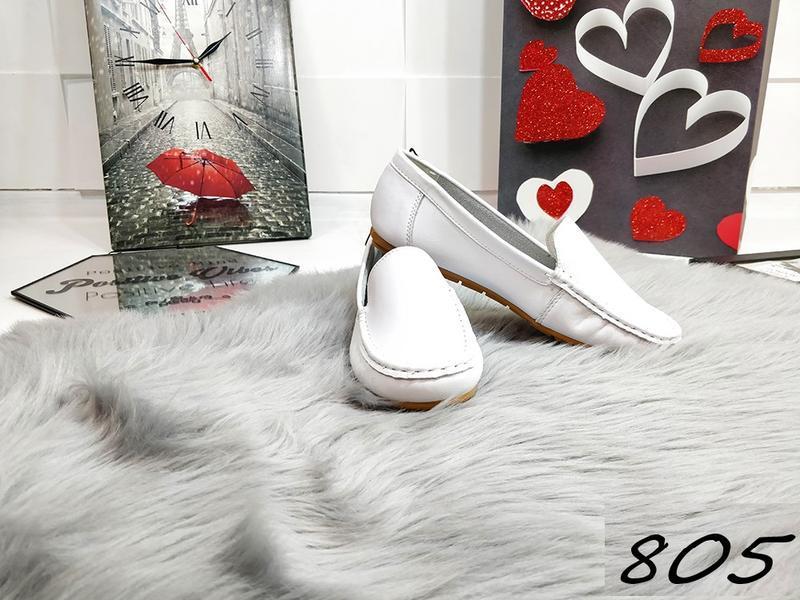 Красивенные белые туфельки кожа - Фото 3