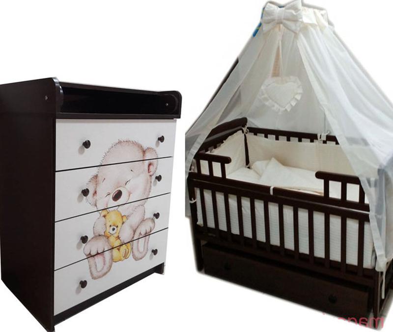 Комплект для сна! Комод, кровать маятник, матрас кокос, постель. - Фото 2