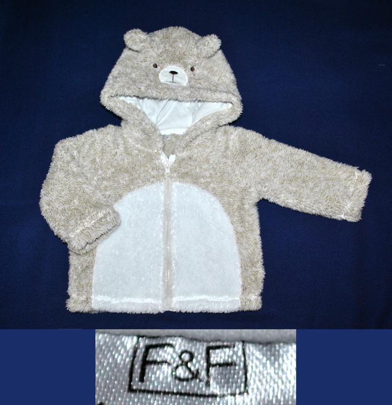 Пушистая кофточка худи мишка f&f р.68/74