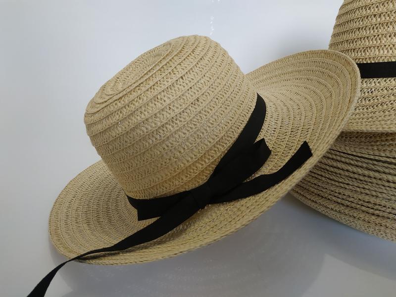 Шляпа женская летняя канотье полями 9 см и лентой кремовая сол... - Фото 3